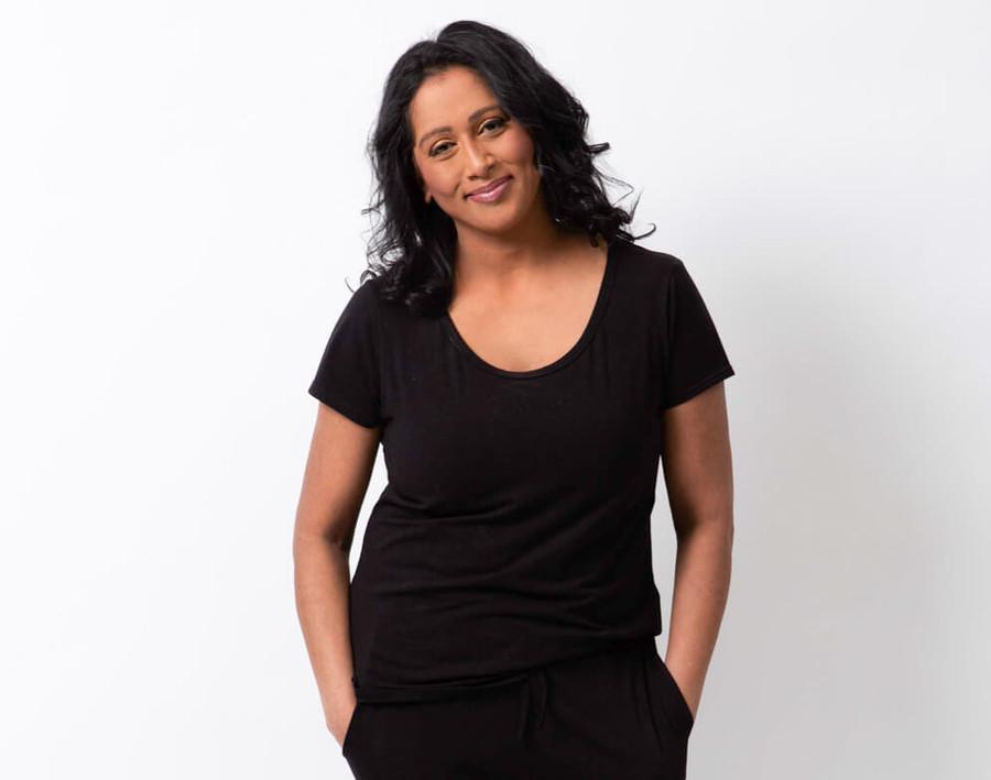 Modal Jersey Lounge Shirt in Black on model