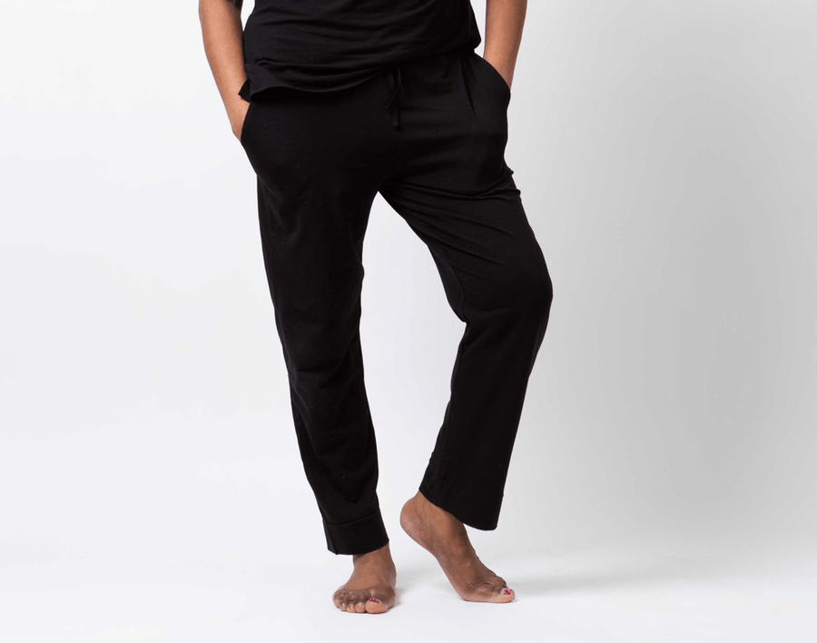 Modal Jersey Lounge Pants in Black on model