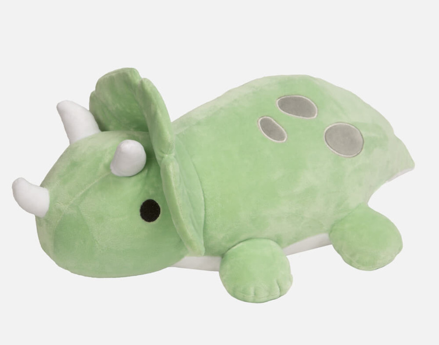 Meet Snore-us, an adorable green weighted triceratops cushion who can help soothe your little one!