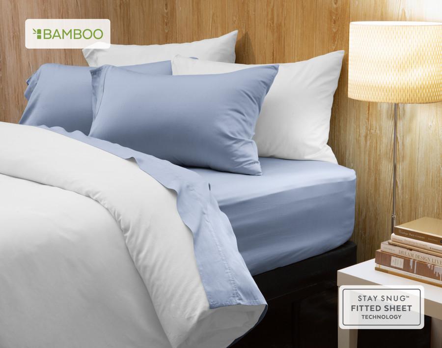 Bamboo Cotton Sheet Set in Marina Blue, a pale blue.