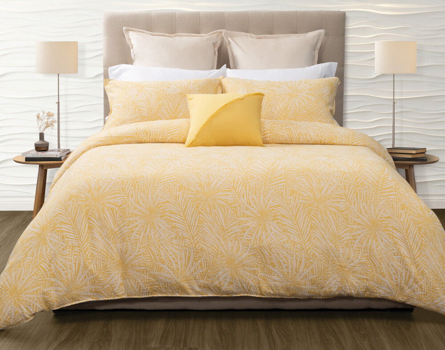 The Moorea Duvet Cover reverses to a cloud-white 100% cotton sateen in 300 thread count.