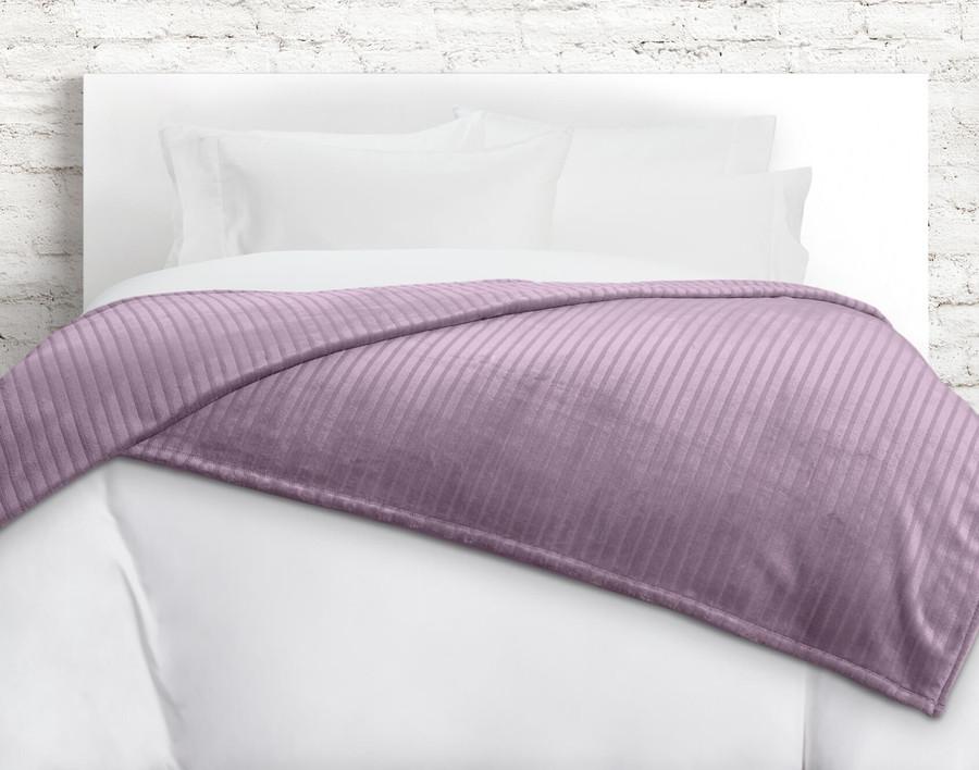 Striped Fleece Blanket in Orchid, a dusty pink.