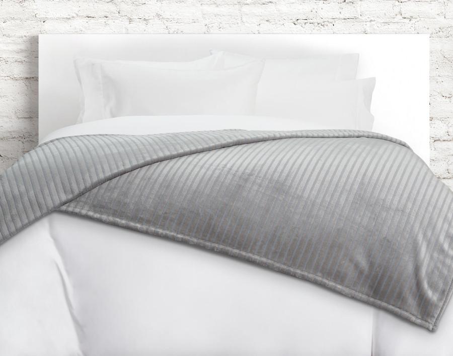 Striped Fleece Blanket in Frost, an icy grey.