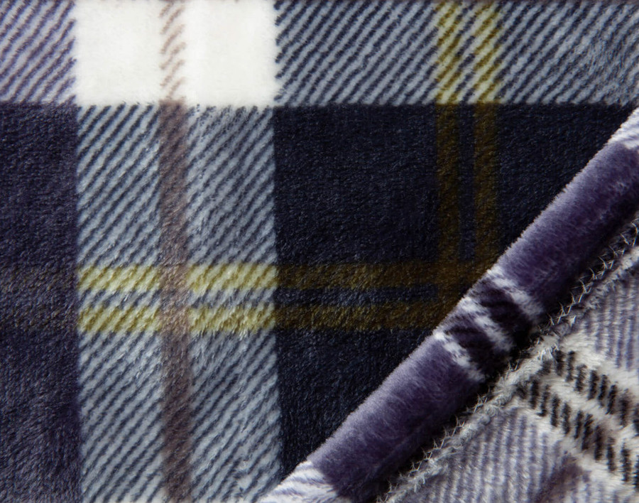 Close up of Inverness Plaid Throw in Navy