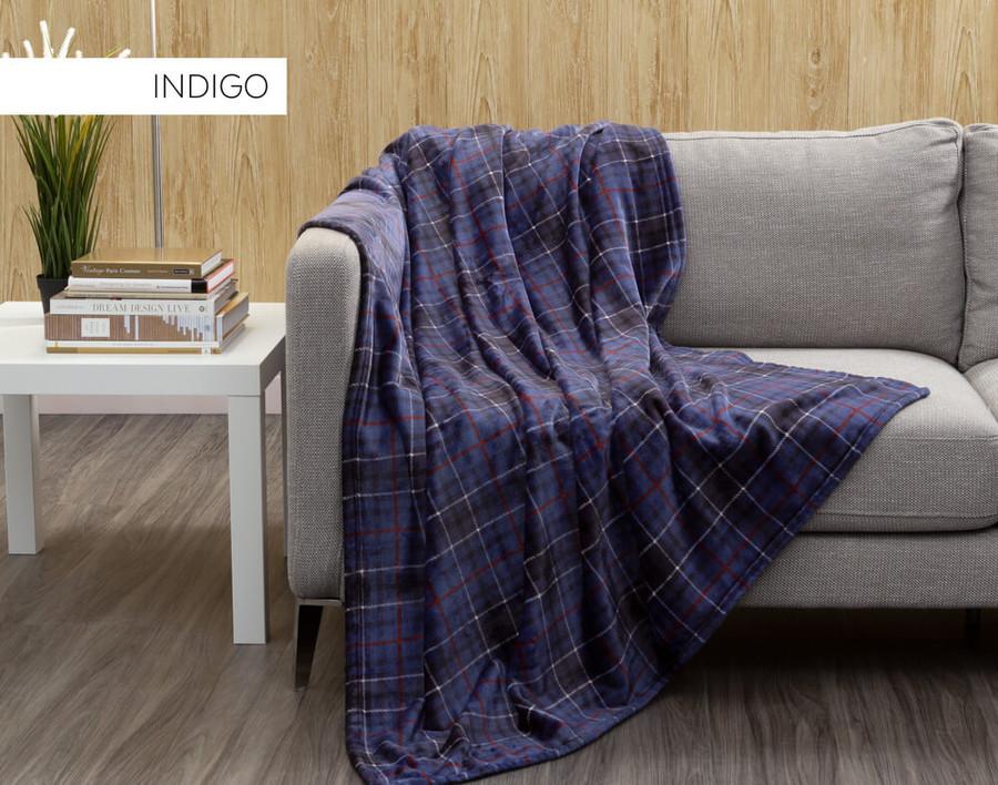 Inverness Plaid Throw in Indigo