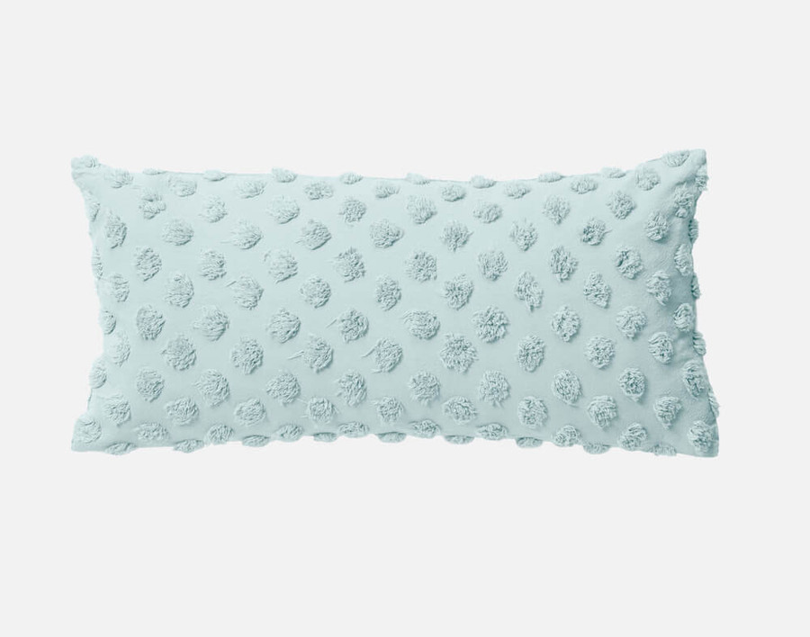 Tufted Boudoir Cushion Cover in Harbour, a pale-blue green.