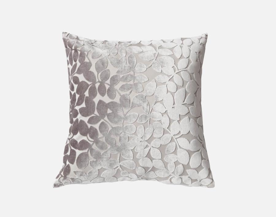 Velvet Vine Square Cushion in Silver.