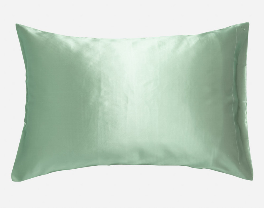 100% Silk Pillowcase in Jadeite, a soft seafoam green.