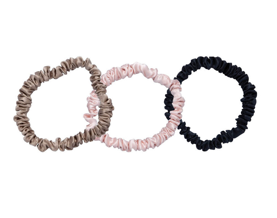 100% Mulberry silk scrunchies in Bronze, Black, and Pink.