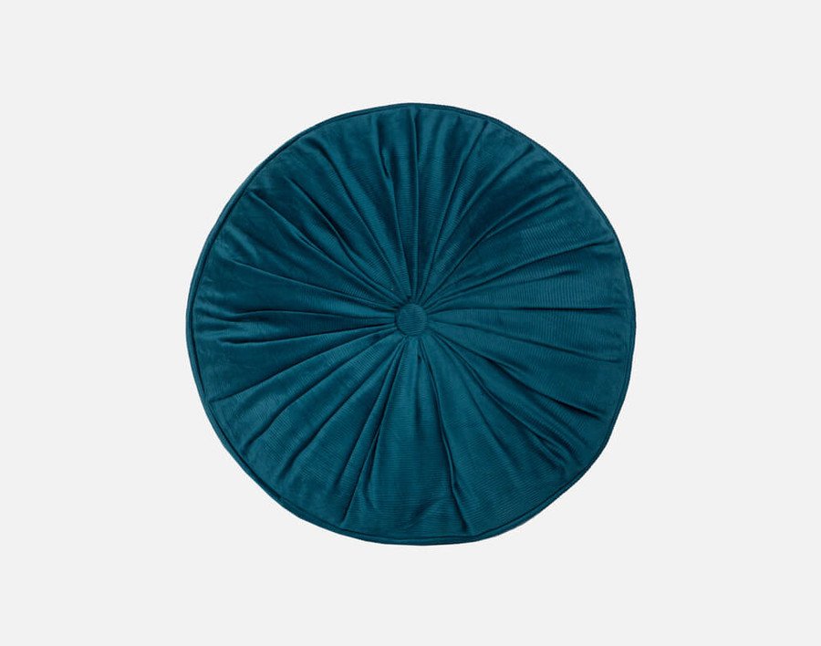 Round Corduroy Pillow in Deep Teal