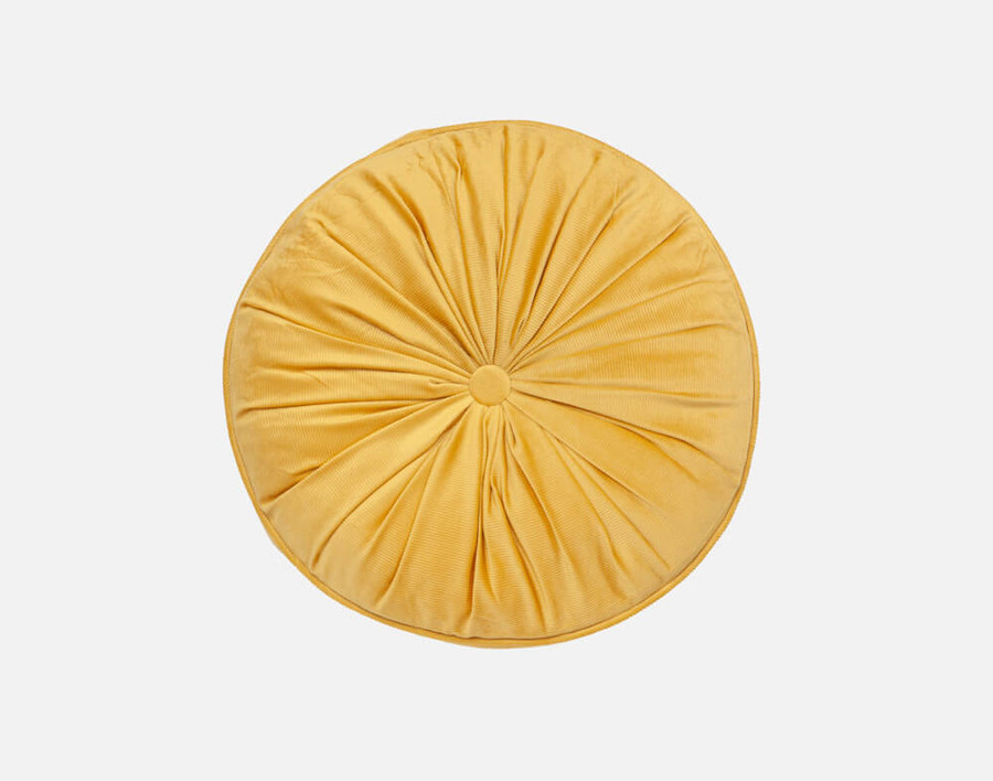 Round Corduroy Pillow in Gold, a sunny yellow.