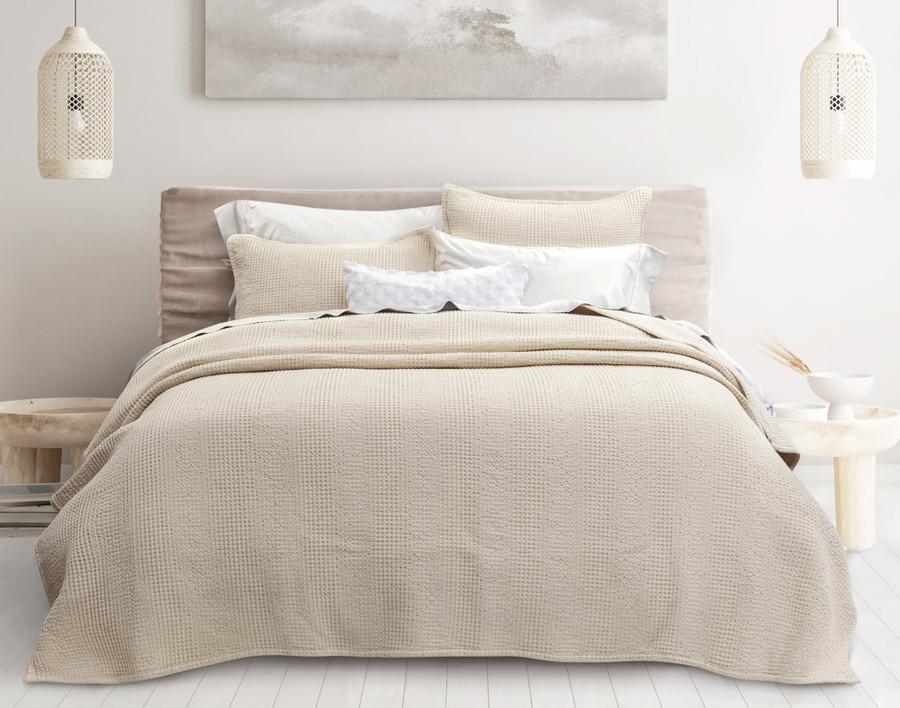 Breeze Oversized Cotton Quilt Set in Driftwood, a light beige.
