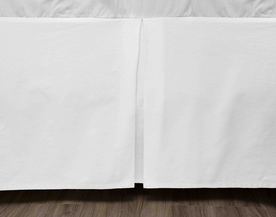 Cotton Twill Bedskirt in a solid white.