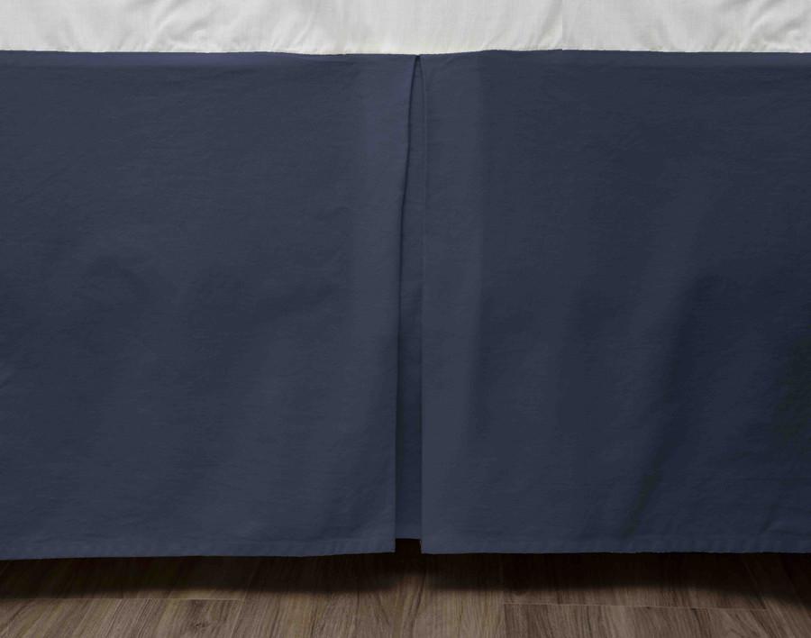 Cotton Twill Bedskirt in Indigo, dark blue