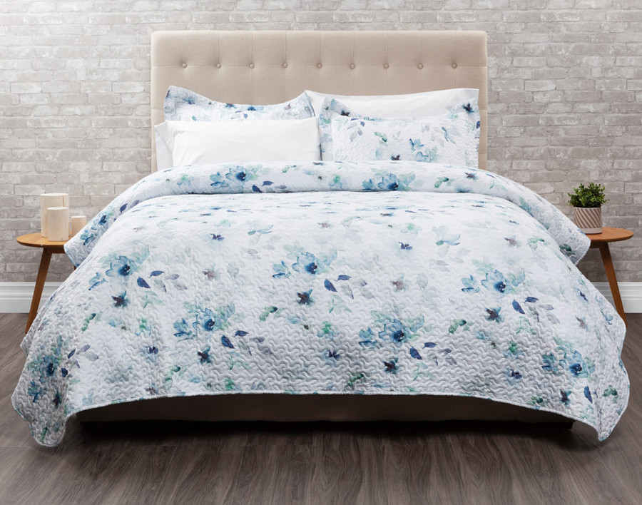 Brooke features blues and pale green florals on a white background.