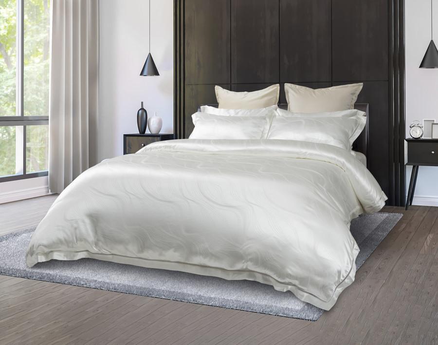 Front view, Verve Silk blend duvet cover set, a rich Creamy White