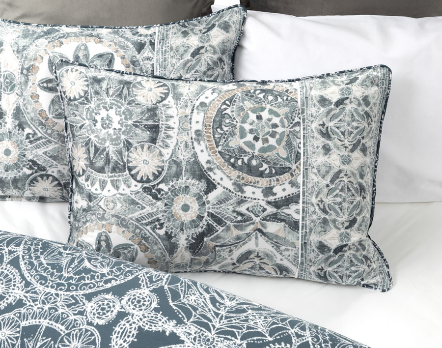 Sonesta Pillow Sham, displaying the front side grey/blue medallions on a white background.