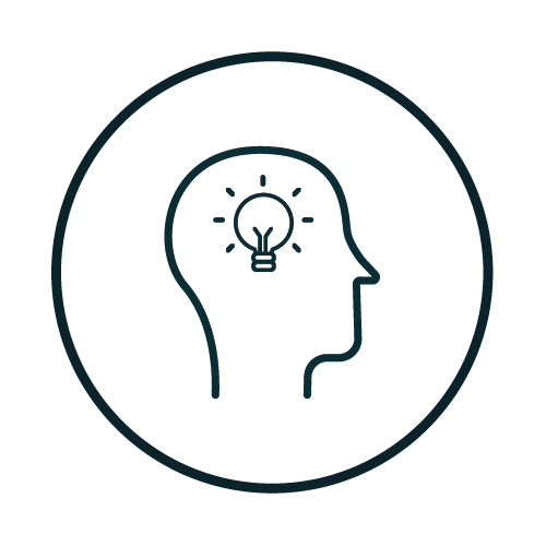 Icon with a lightbulb in head illustration.
