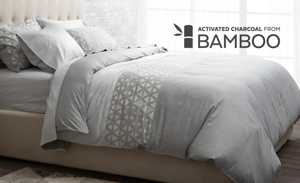 Bamboo Cotton Bedding with Activated Charcoal, featuring Theo