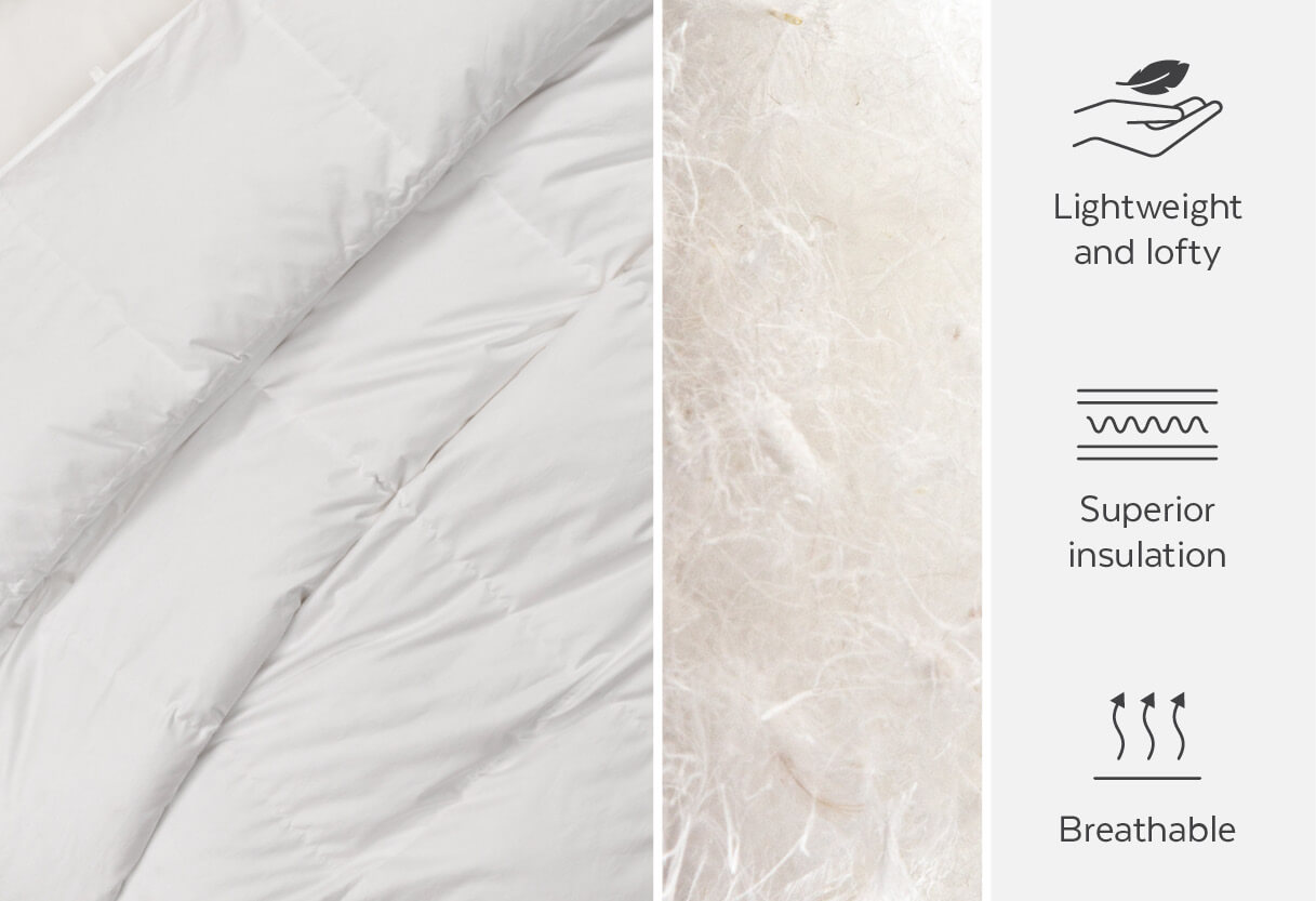 Down duvets are lightweight, lofty, breathable, and provide superior insulation.