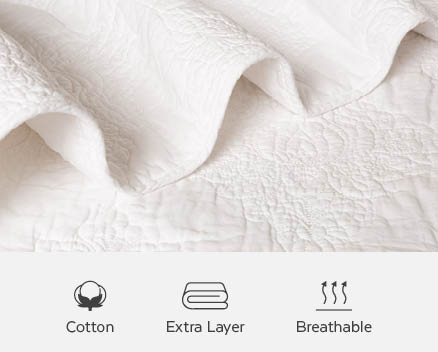 Quilts are made of cotton and can be used as a breathable extra layer