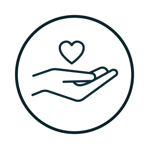 Icon with a hand and a heart illustration.