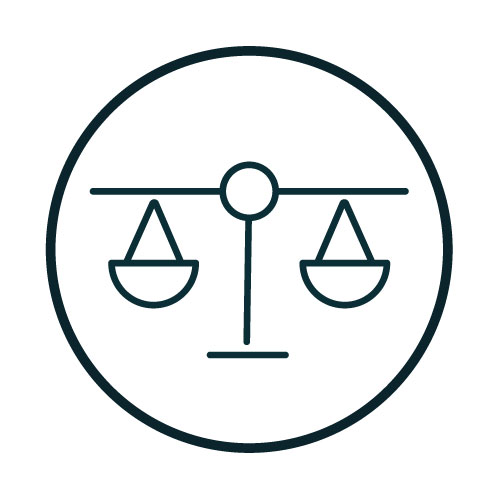 Icon with a balanced scale illustration.