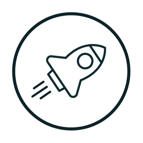 Icon with a rocket illustration.