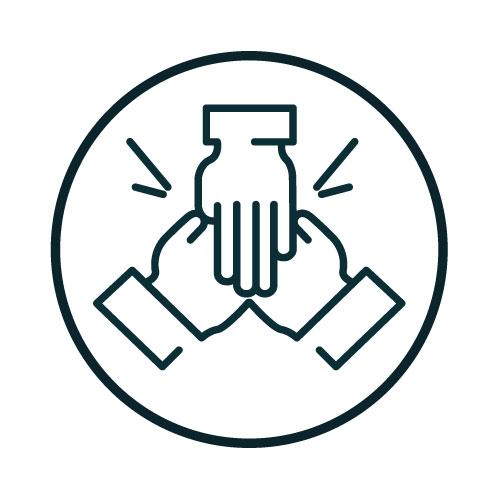 Icon with three hands illustration.