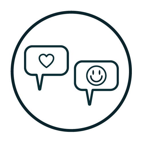 Icon with text boxes containing a heart and smiling face illustration.