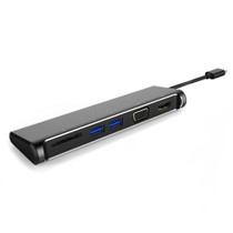 UPTab USB-C (Type C) to HDMI™ 4K, VGA,  2 USB 3.0, Card Reader Adapter - Front