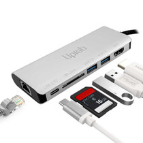 UPTab USB-C to HDMI 4K, 2 USB 3.0, Card Reader, USB-C PD and Gigabit Ethernet Adapter - Ports