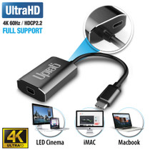 UPTab USB-C (Type C) til Mini DisplayPort-adapter 4K @ 60Hz - Grafit - tilbage