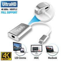 UPTab USB-C (Type C) to Mini DisplayPort Adapter 4K@60Hz - Silver - Power Delivery Port
