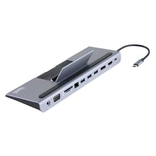 Station d'accueil UPTab USB-C avec Ethernet, DisplayPort 4K, HDMI 4K, VGA, USB 3.0 à 3 ports, USB C PD et lecteur de carte SD / TF