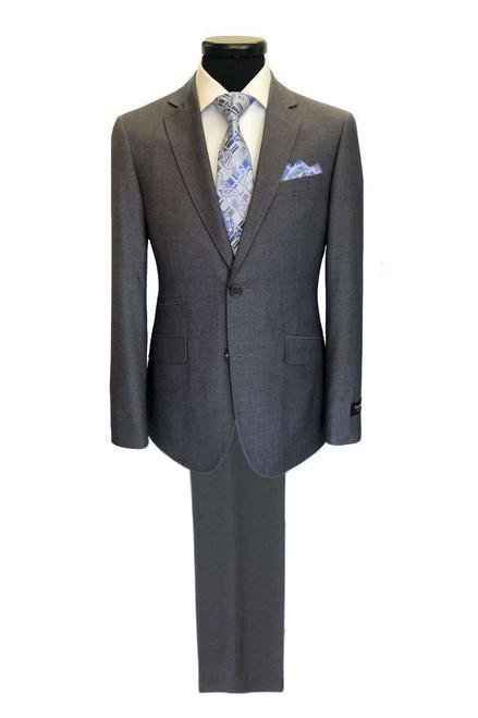 Grey 2-button Regular Fit Suit Men's Suit