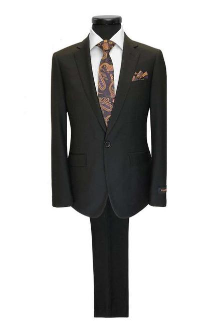 Black 1-button Regular Fit Suit Men's Suit