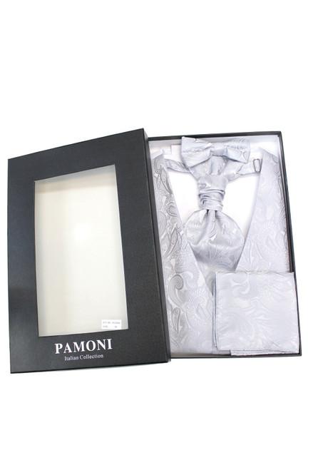 Silver paisley waistcoat & cravat set in presentation box