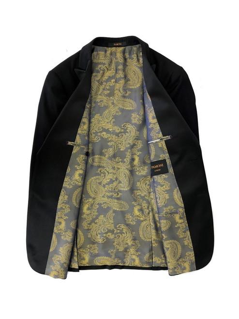 Black 1-button dinner blazer with golden oriental dragon lining