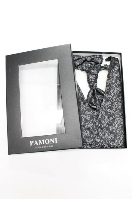 Dark grey paisley waistcoat & cravat set in presentation box