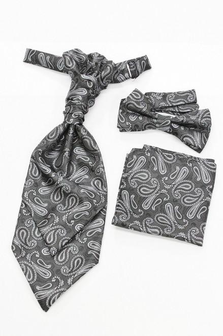 Dark grey paisley waistcoat & cravat set