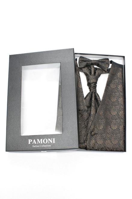 Brown paisley waistcoat & cravat set in presentation box