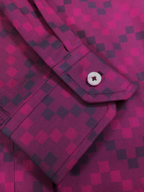 Purple Squares Fitted Shirt