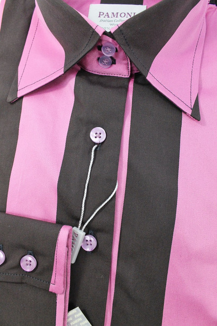 Pink Black Bold Stripe Fitted Shirt