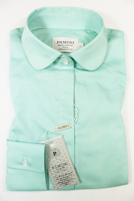 Mint Curved Collar Fitted Shirt