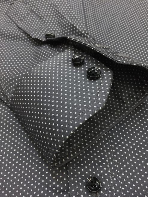 Grey Dotted Print Slim Fit Shirt