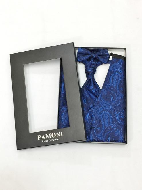 Navy paisley waistcoat & cravat set in presentation box