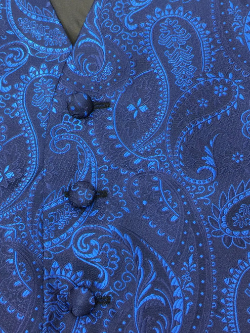 Close up of the navy paisley design