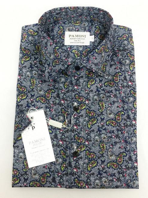 Grey Floral Paisley Short Sleeve Shirt