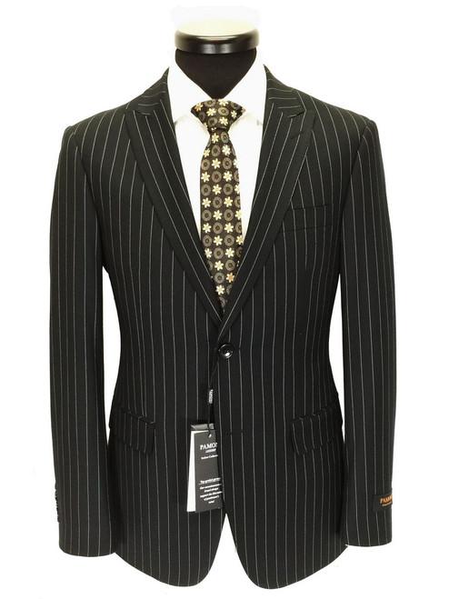 Black Pinstripe Two Button Slim Fit Suit